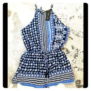 Choies blue print romper size medium